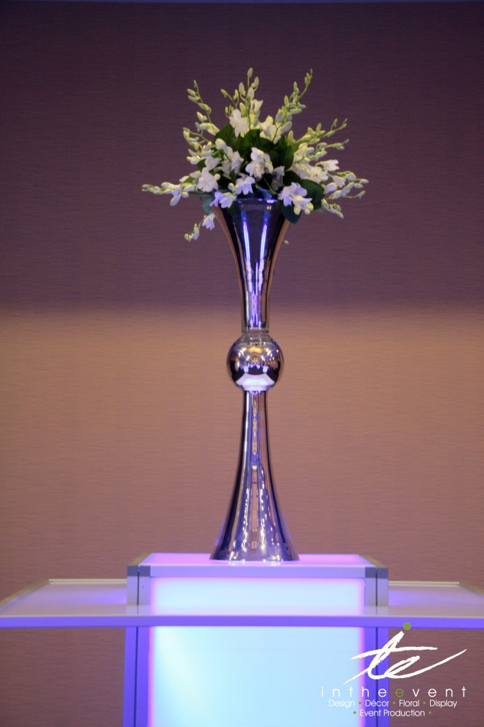 Floral Centerpiece LED Using LED Furniture To Brighten Your Event LED Deluxe HiBoy with Floral Centerpiece