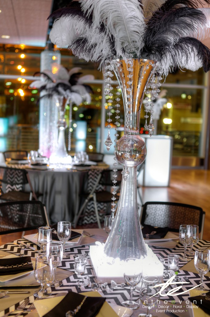 Crystal-Feather-Dining-Centerpiece Modern Modern Event Décor Crystal Feather Dining Centerpiece