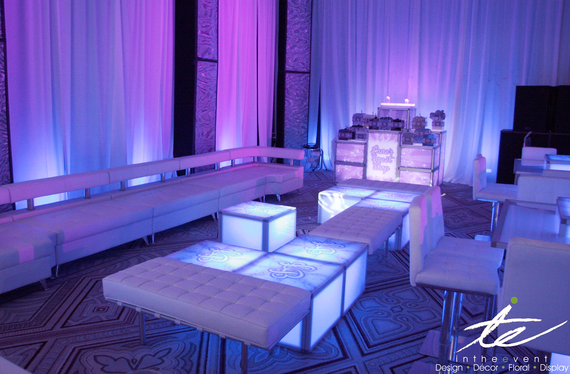 White Leather Bench Event Rental