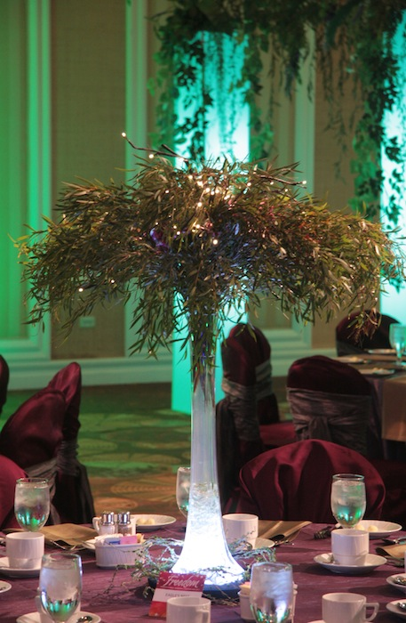 custom light up vase table centerpiece