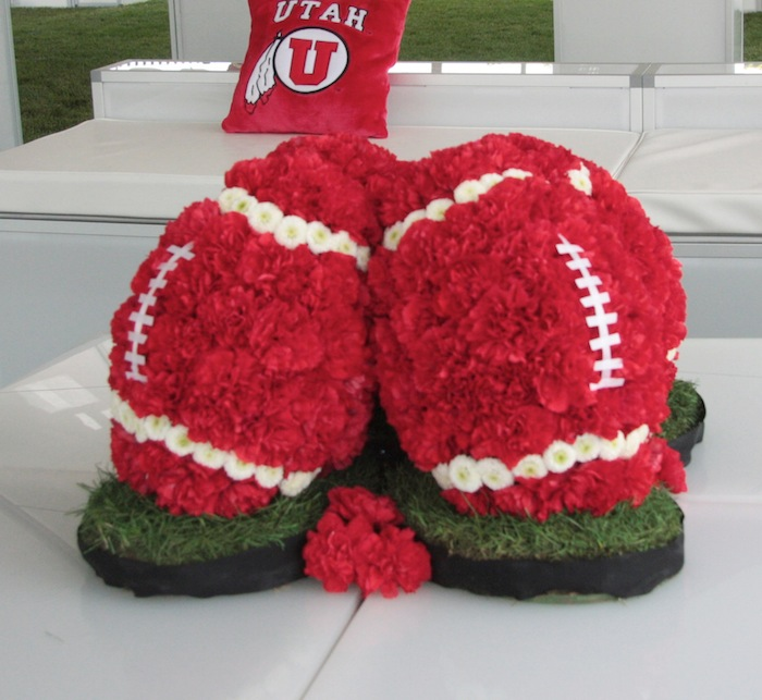 Utah football floral centerpiece