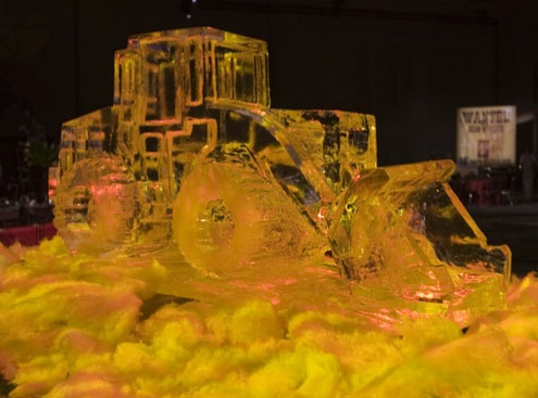 ice sculpture bulldozer