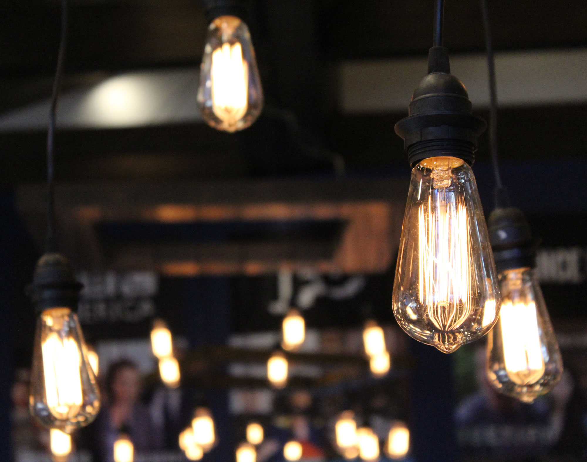edison bulb chandelier wall event rentals
