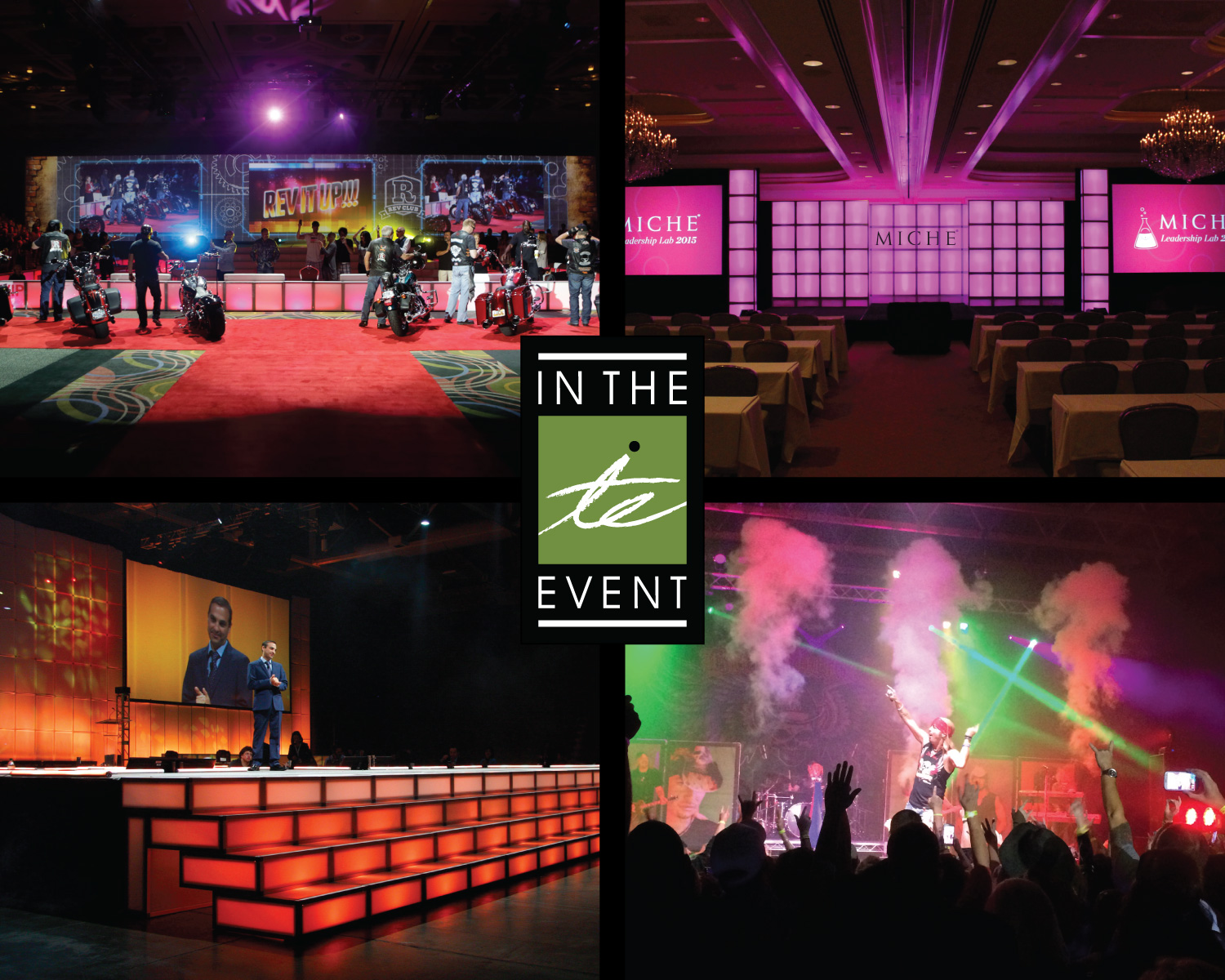 corporate events How To Take The Bored Room Out Of Corporate Events Stage Look Collage