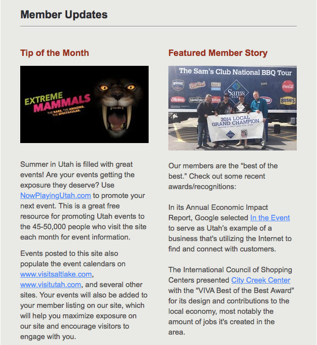 VSL Newsletter Feature  Visit Salt Lake Features In The Event Screen Shot 2015 07 10 at 3