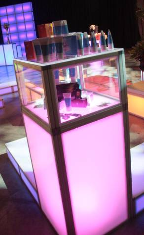 custom glow product display case