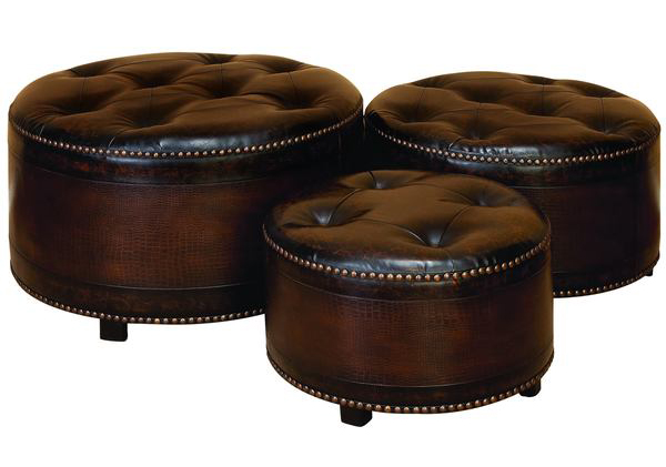 Leather Ottomans Set Of Three ~ Brown round leather ottoman event rentals from in the