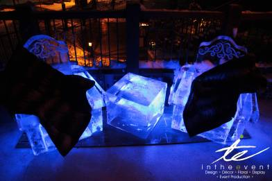 blue glow ice sculpture