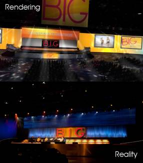 3d rendering of Big stage design concept to creation