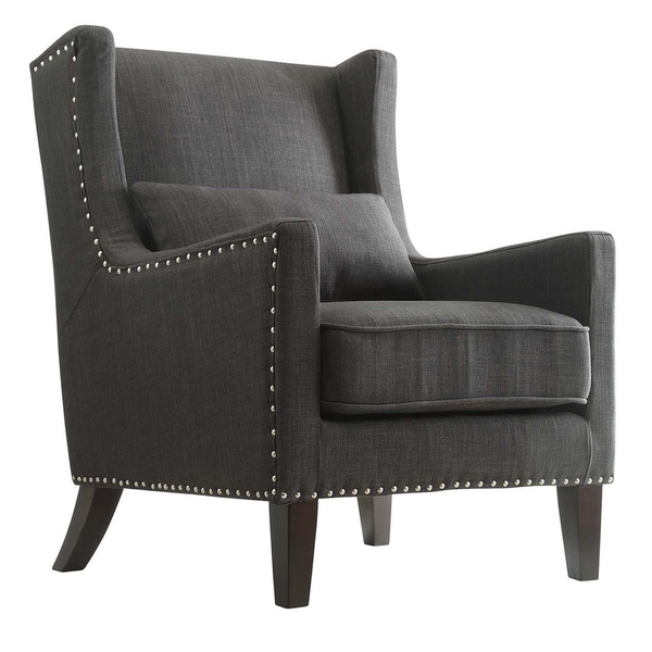Charmant Gray Wingback Chair