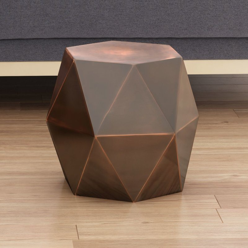 Geometric Bronze Side Table | Event Rental