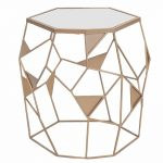 Geometric Mirrored Drum End Table