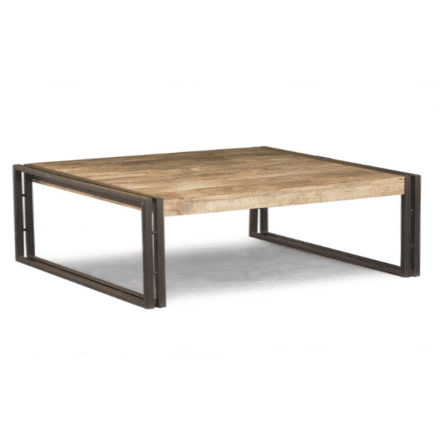 Tan rectangular table with brown metal legs