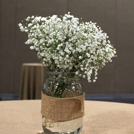 babys breath and burlap